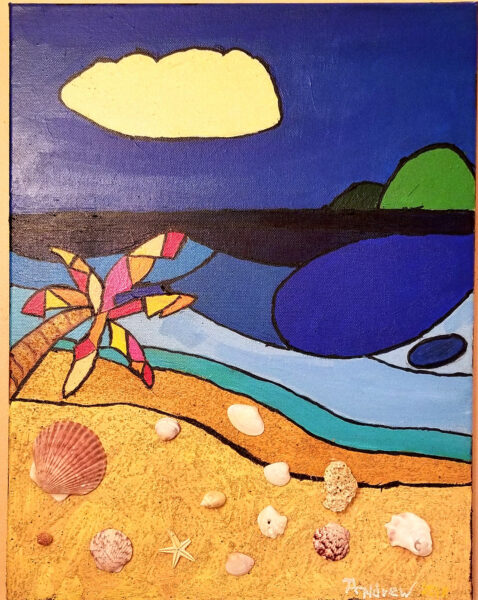 Andrew Grandy Smith - Shell Beach, painting, mixed media, St Petersburg, Florida