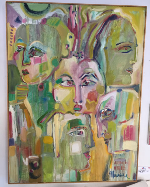 The Visit - Maurice Bartikofsky, painting, faces