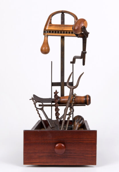 All My Sorrows - Sallie Hackett Brown, sculpture, wood, metal, drawer, found industrial objects